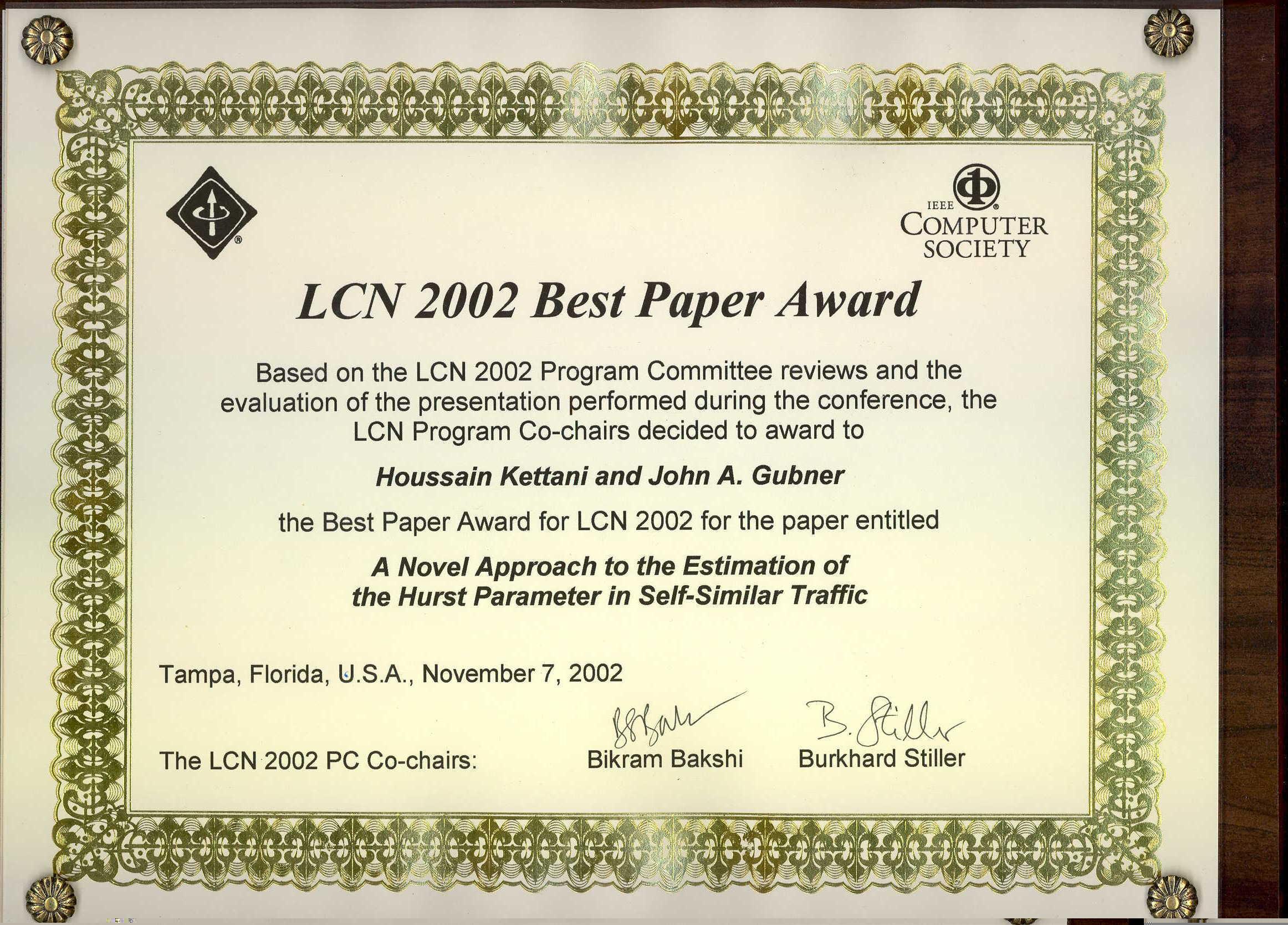 LCN '02 Best Paper Award